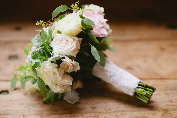 les fleurs : bridal bouquet : barn at gibbet hill : lace wrapped bouquet : pale yellow, pale pink : succulents