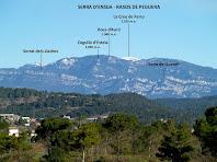 La Serra d'Ensija, els Rasos de Peguera i la Serra de Queralt vistos des del Pla de Vilamajor