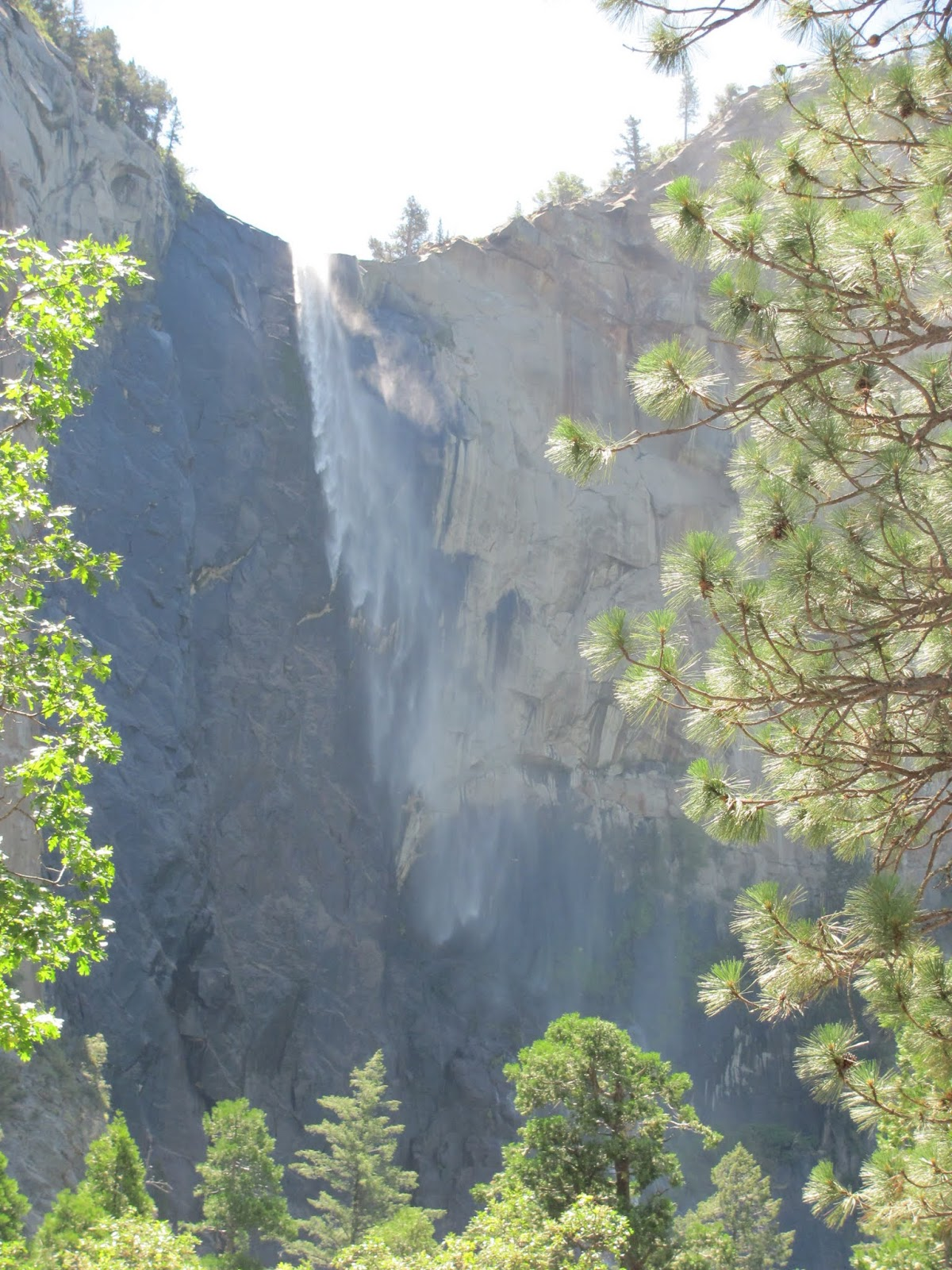 Bridalveil Falls cascade down to the valley floor at Yosemite National Park, California