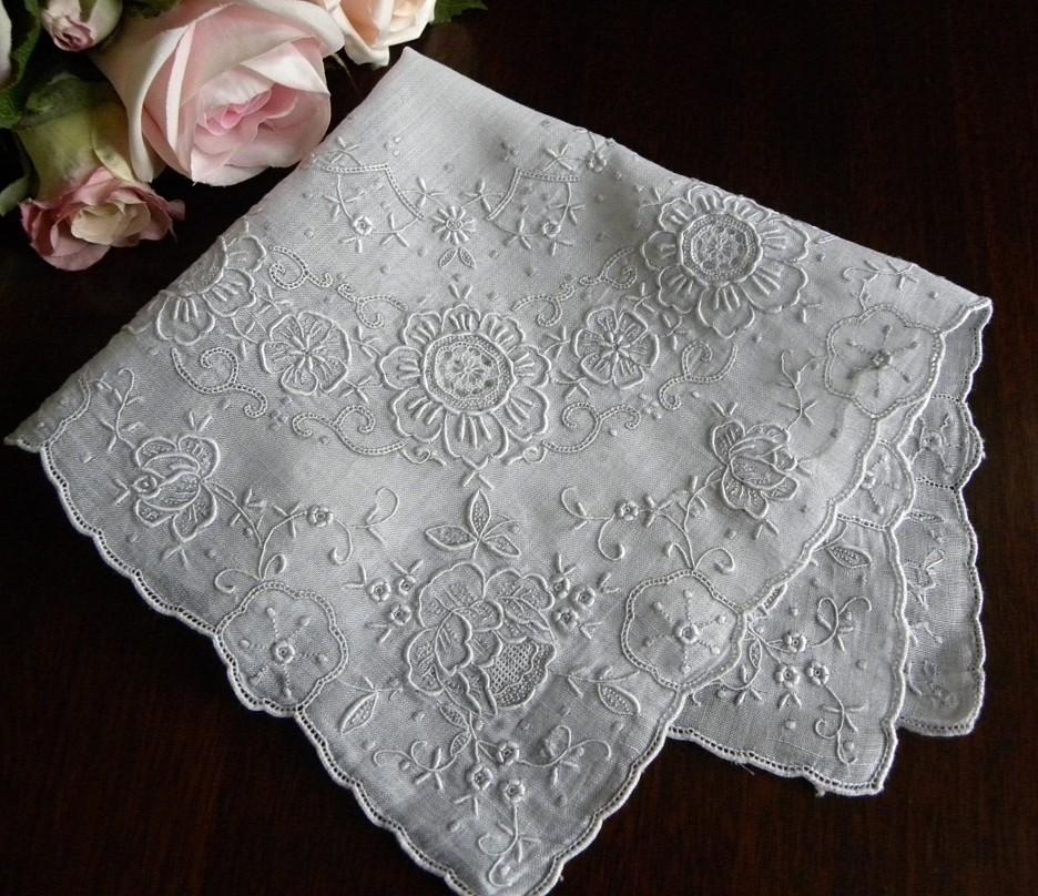 The Pink Rose Cottage Vintage Bridal Wedding Handkerchiefs