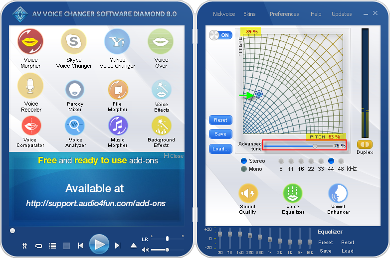 voice changer software 8.0 diamond's optimus prime voice settings