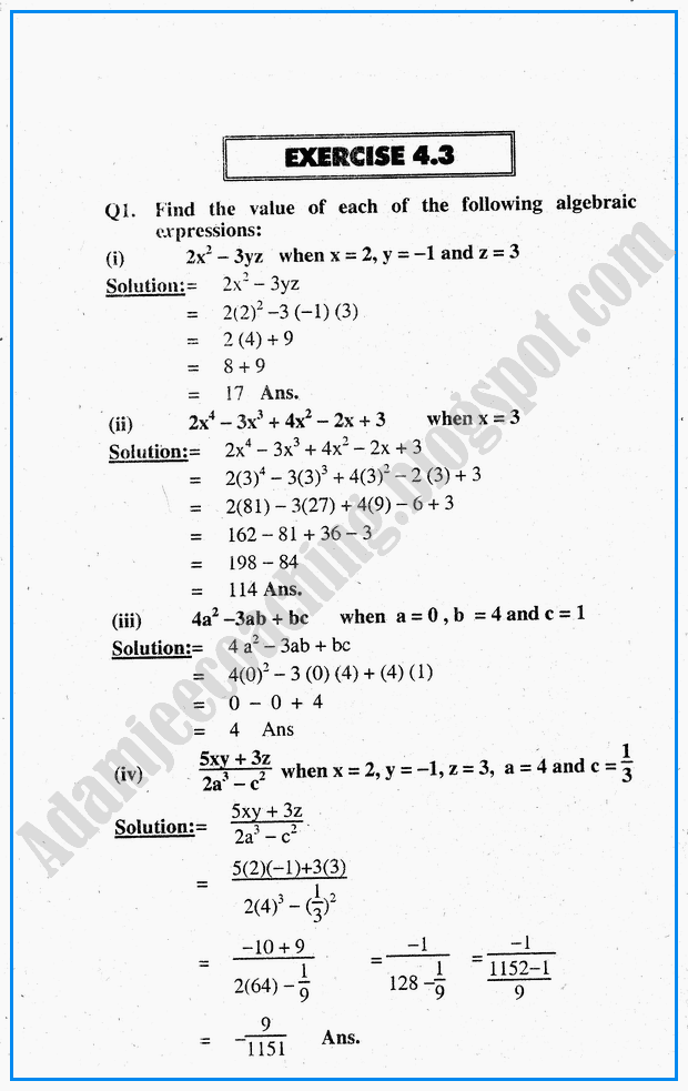 Adamjee Coaching: Exercise 4.3 - Algebraic Expressions - Mathematics ...
