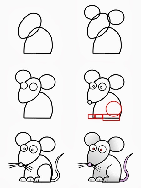 Le coin des enfants comment dessiner une souris for How to draw with a mouse