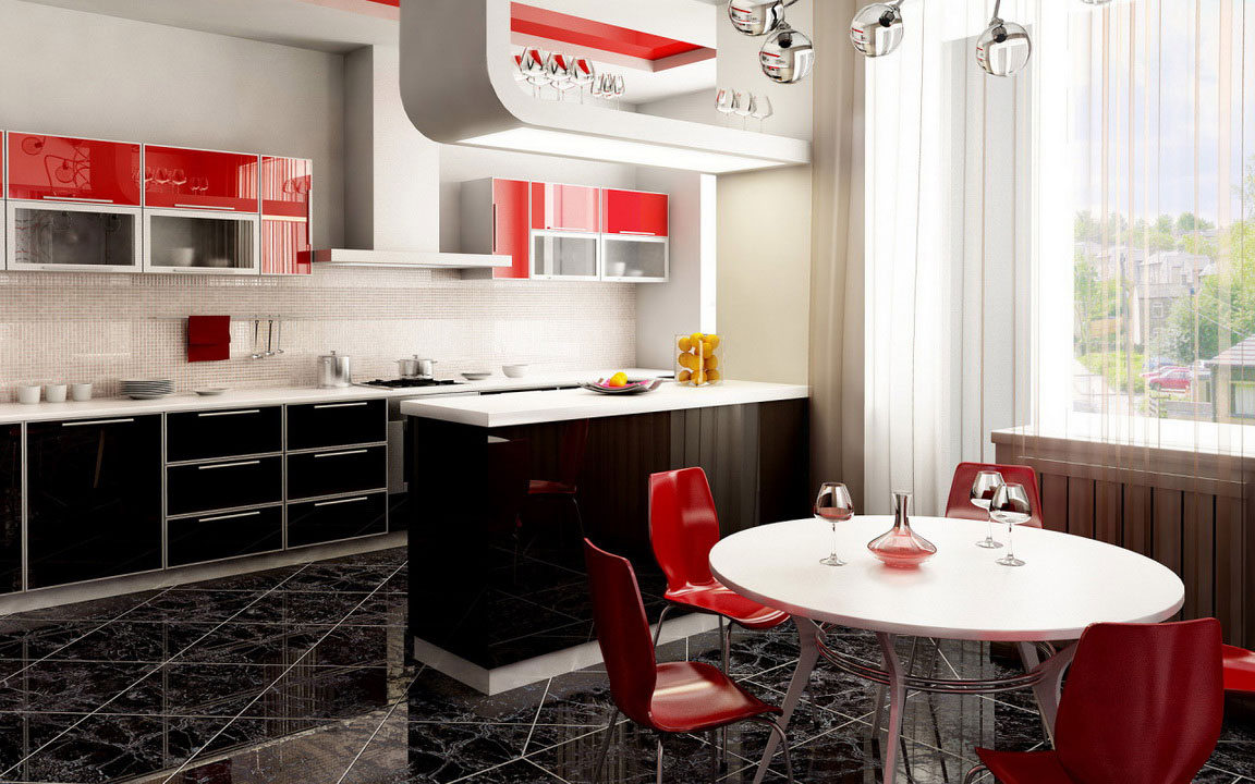 Modern kitchen accessories - Modern Kitchen Design With Many Accessories And Red Chairs