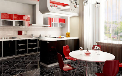 modern kitchen design with many accessories and red chairs