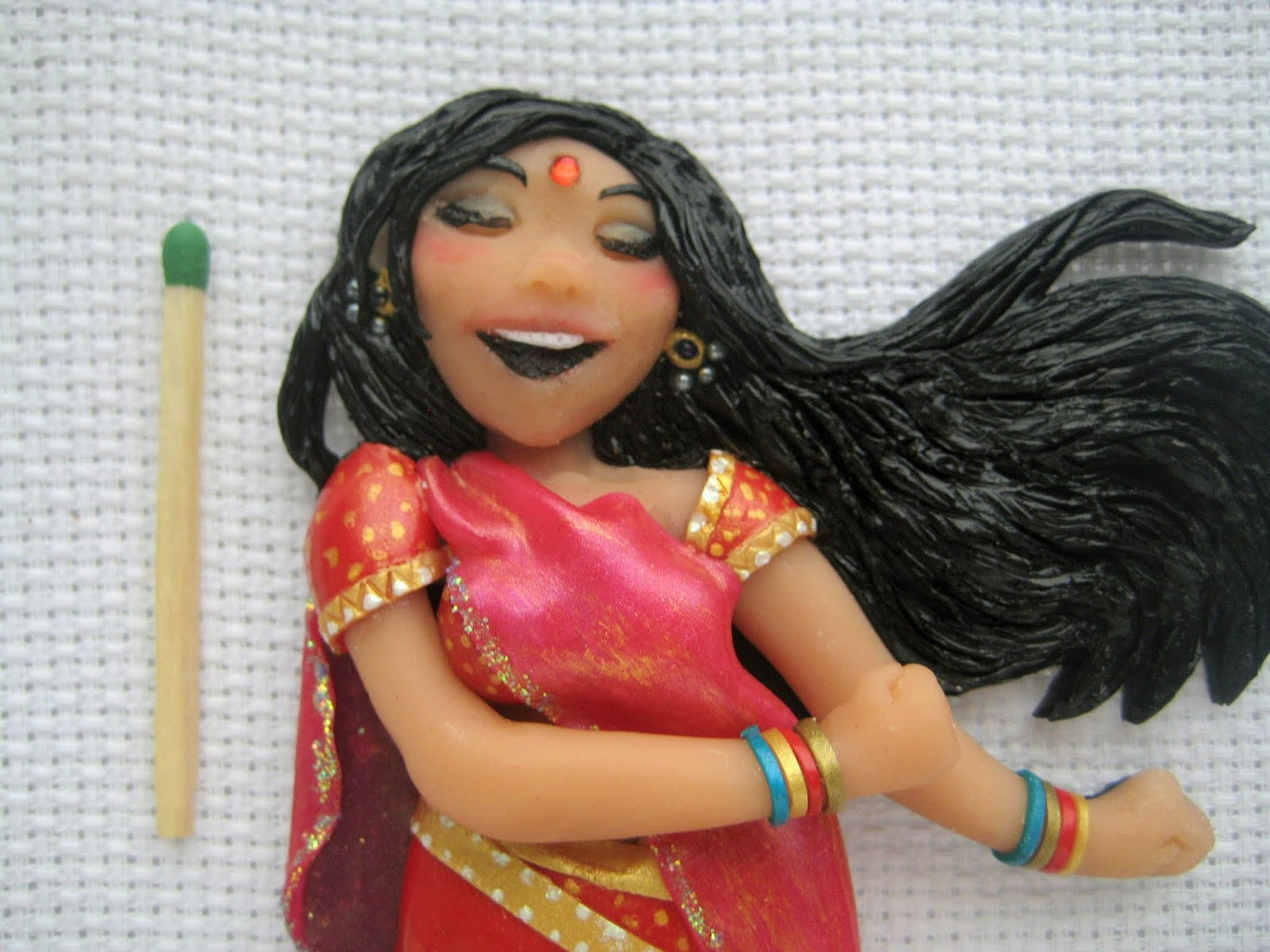 fridgemagnet, India, girl, dance, handcrafted, Etsy