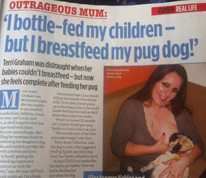 Terri Graham breastfeed her dog 'Spider' four times a day @osaseye.blogspot.com