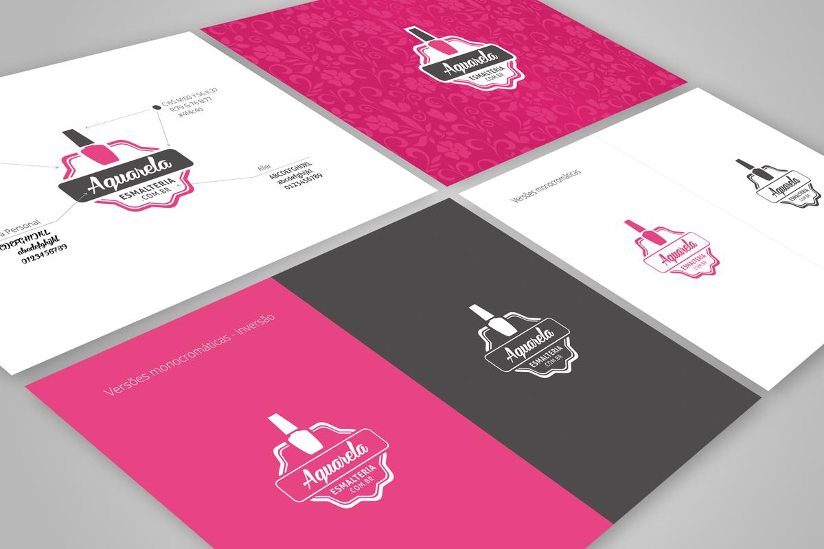 Identidade visual da Aquarela Esmalteria, logotipo, grafismos e versões