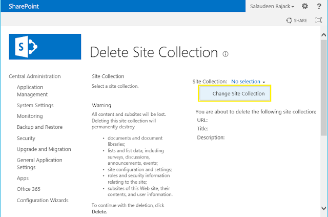 delete site collection powershell sharepoint 2013