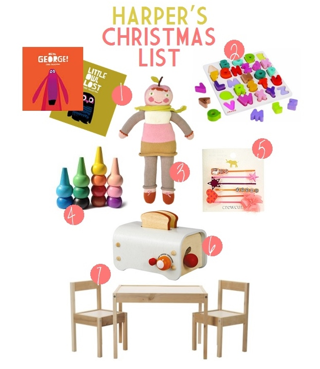 Harper\'s Christmas List & Toddler Gift Ideas - GarvinAndCo.com
