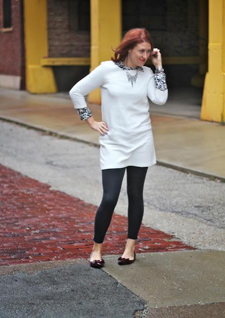 white, sleeved, dress