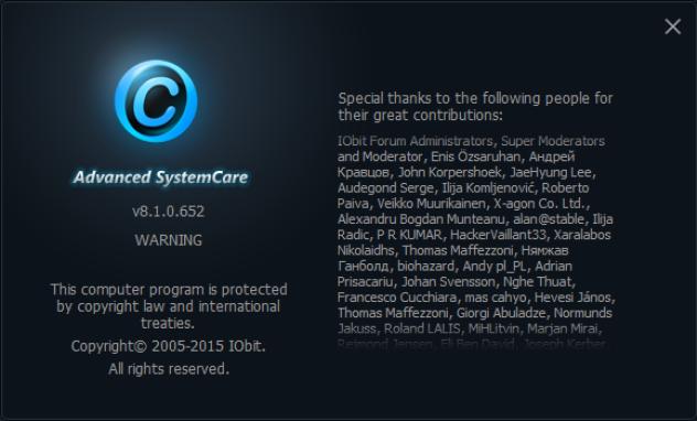 Advanced System Care Pro 8.1.0.652 Serial Keys