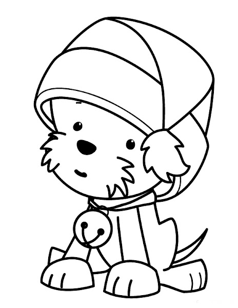 Stocking Coloring Page Puppy