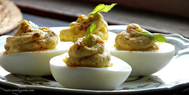 Comfy Cuisine: Deviled Eggs with Pickled Jalapeños