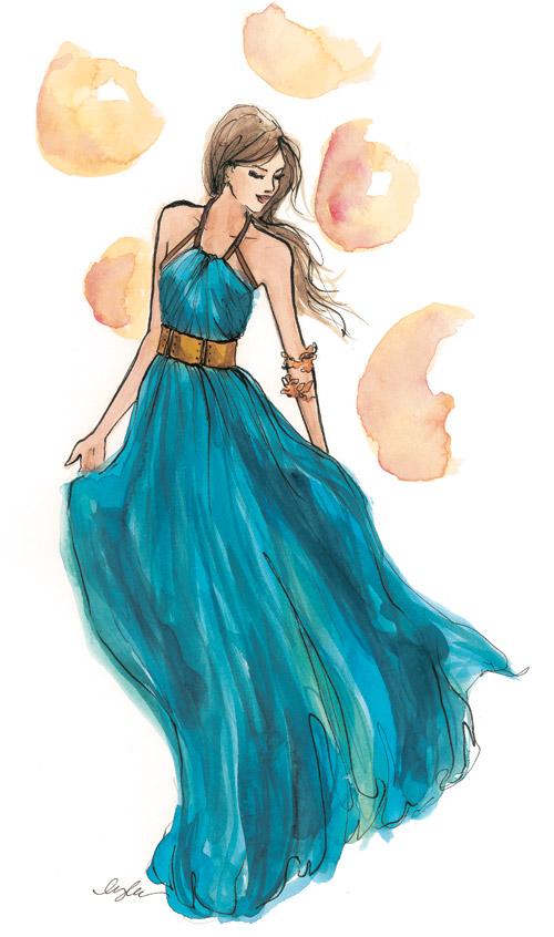 Рисунки женщин в платьях