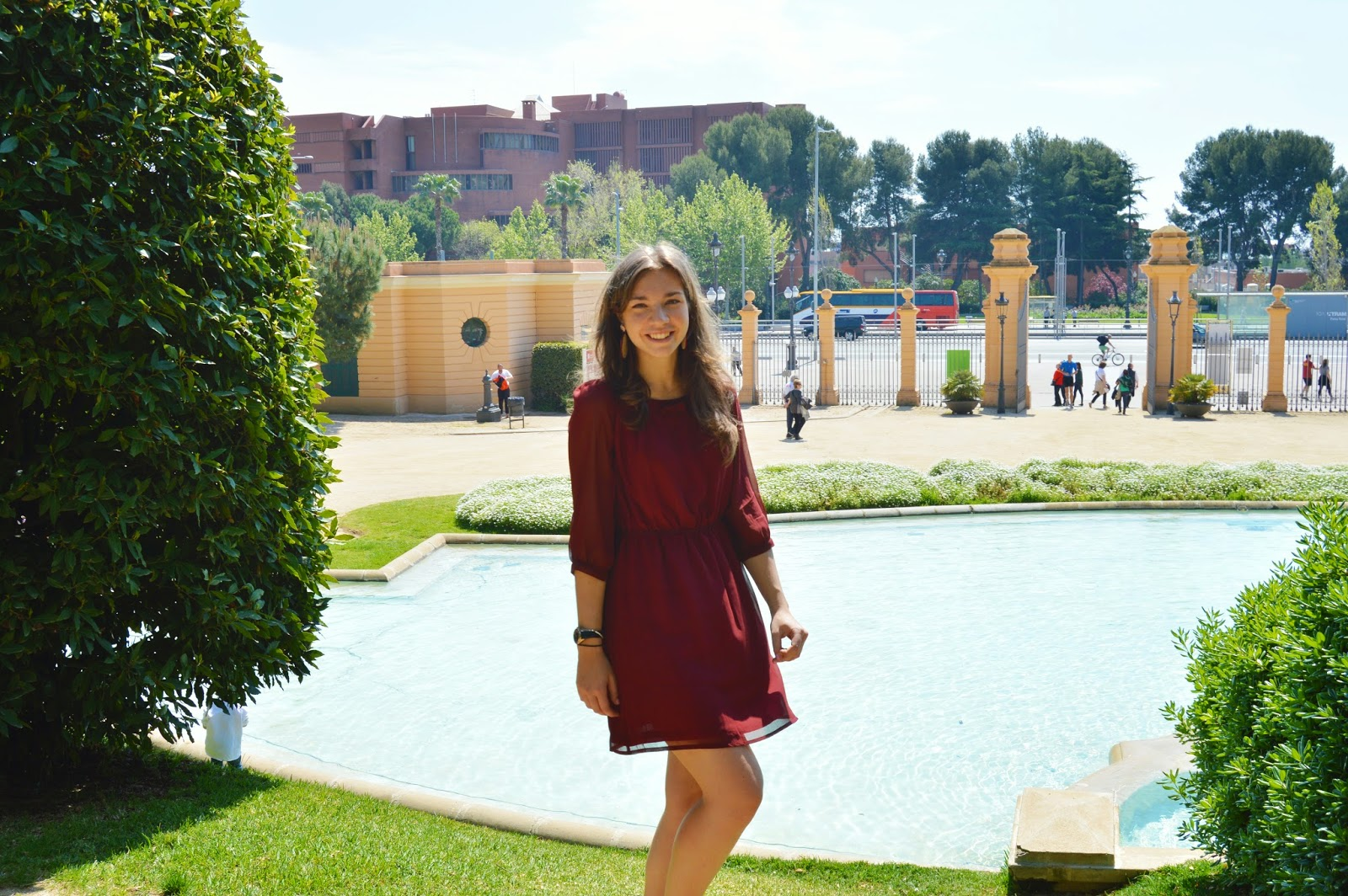 Burgundy outfit with a dress