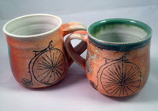 Handmade Old Style Bike Mugs by Lori Buff