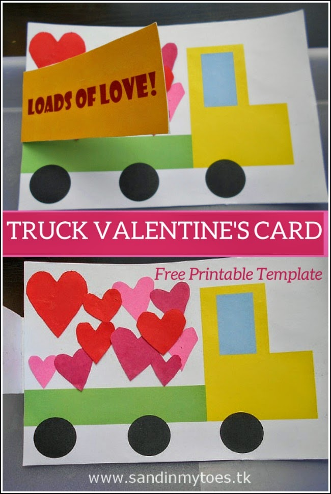 Truck Valentine's card that kids can make, with free printable.