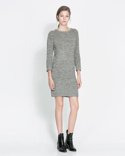 dokuma krem rengi kısa elbise uzun kollu
