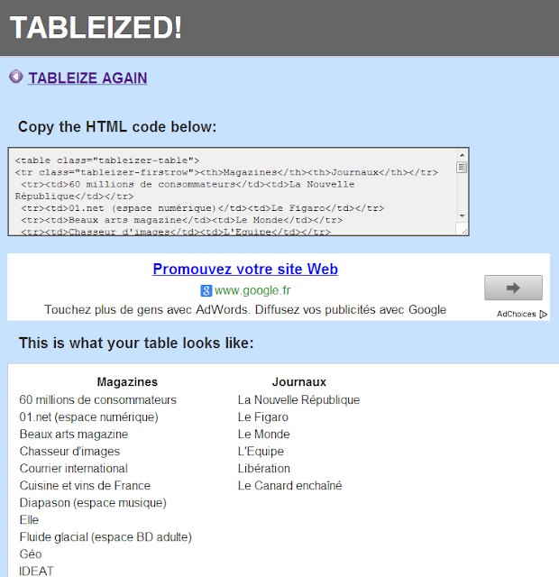 Geek stardust tableizer ou transformer 1 tableau en code for Code html lien nouvelle fenetre