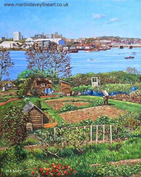 Allotments at Southampton beside River Itchen -oil painting