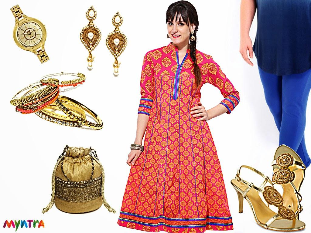 Myntra, ethnic look, festive look, diwali, ethnic wear, Sattya, Anouk