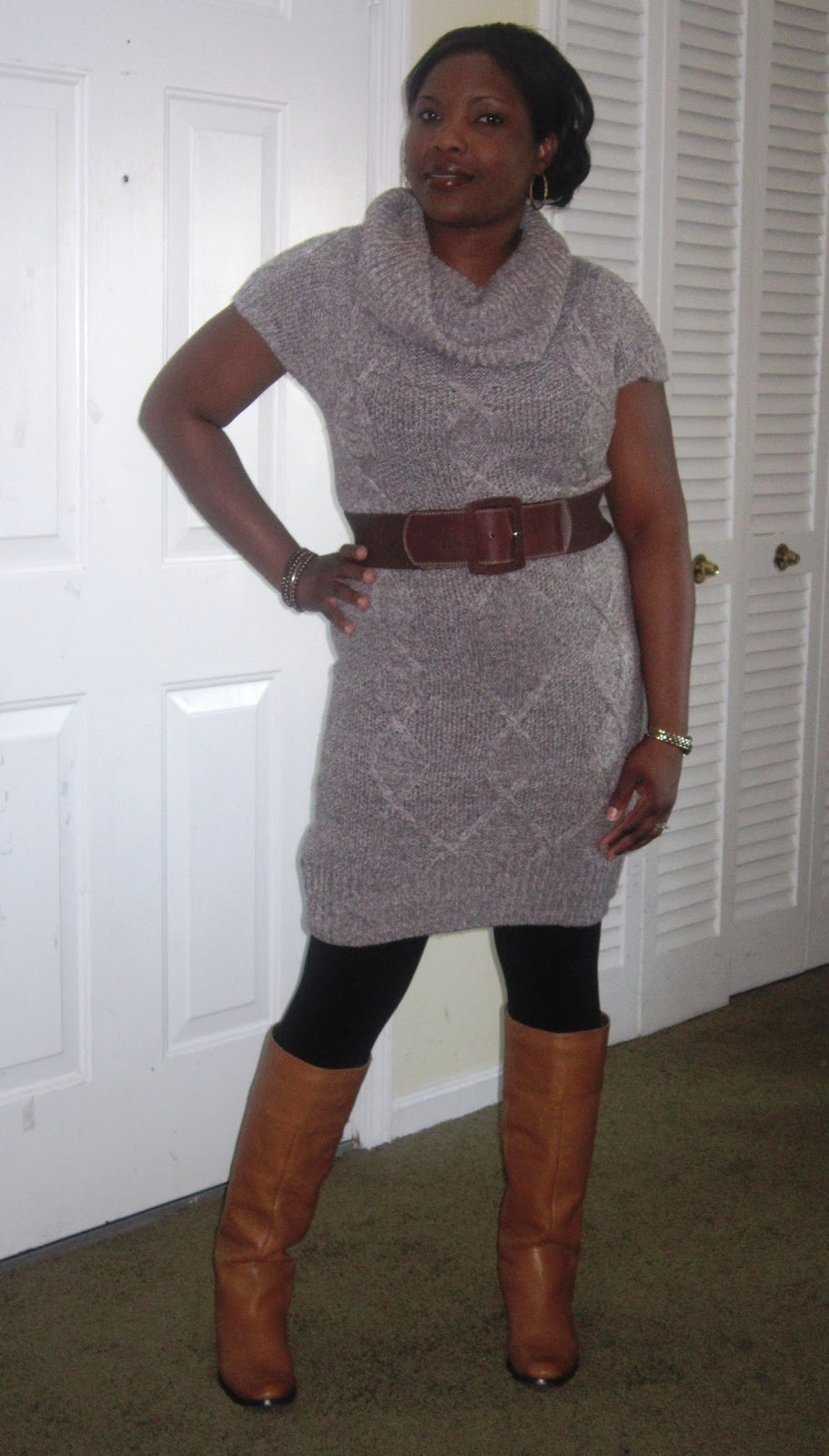 Leggings And Boots http://beautystyleandgrowth.blogspot.com/2012/01/tunic-and-leggings-and-nine-west-boots.html