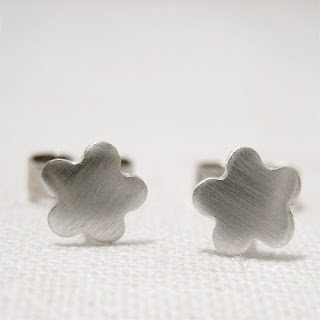 Tiny Silver Flower Stud Post Earrings, Brushed Satin Silver