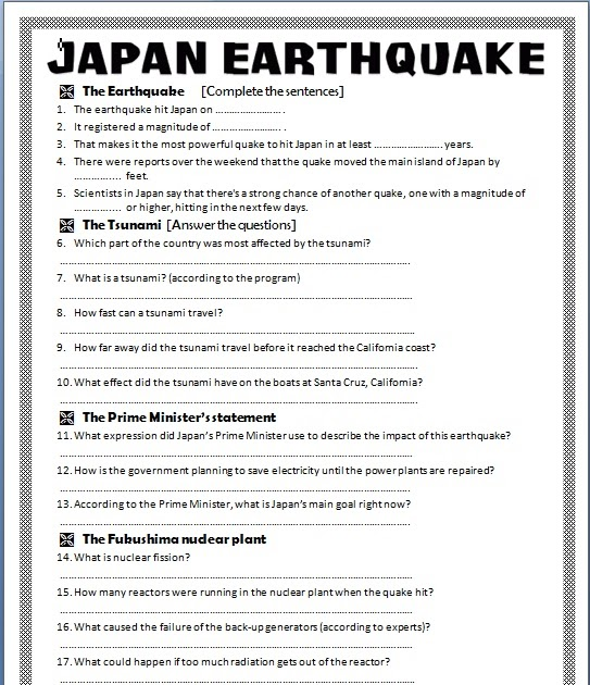 a discussion on the problems related to the earthquakes in japan Post earthquake health information management in japan—the challenges   and the recommendations arising from discussions during symposia held at  jhim's  other major disasters caused by earthquakes, tsunami, and hurricanes  have.