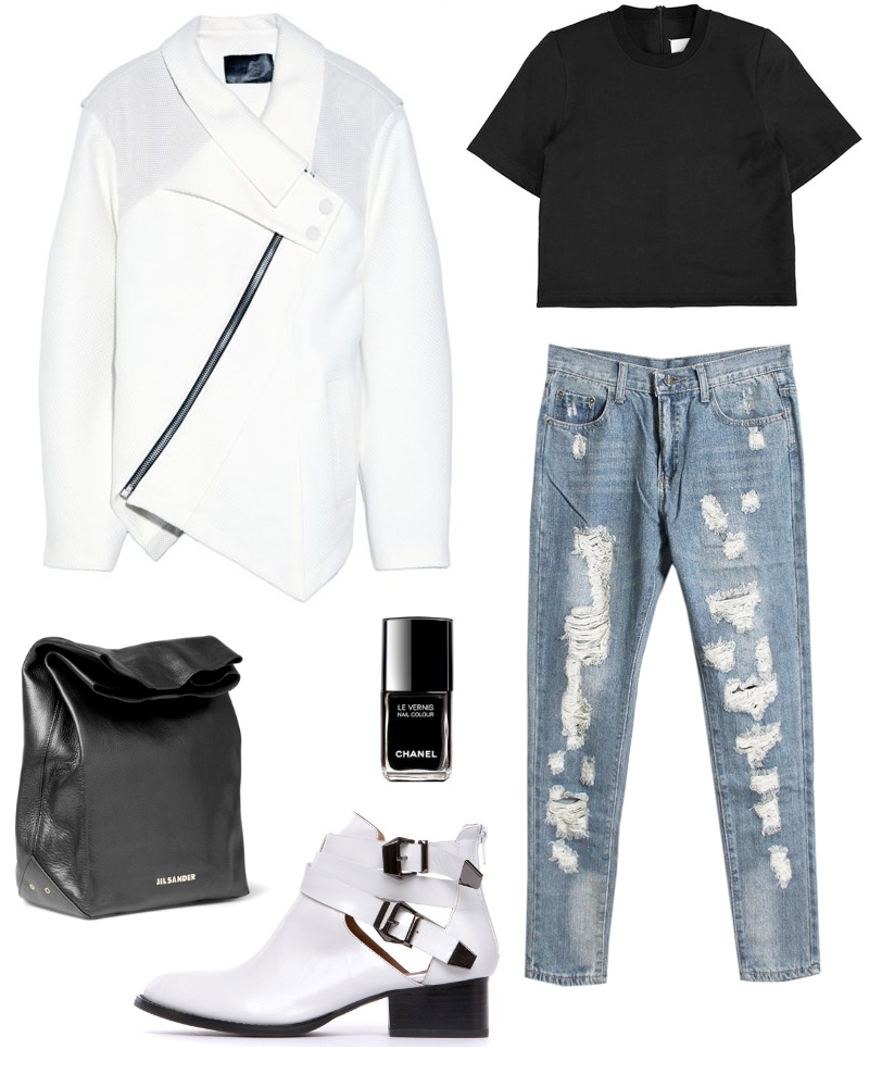 Minimalistic and clean ashion set featuring Proenza Schouler jacket, ripped jeans and Jeffrey Campbell boots!