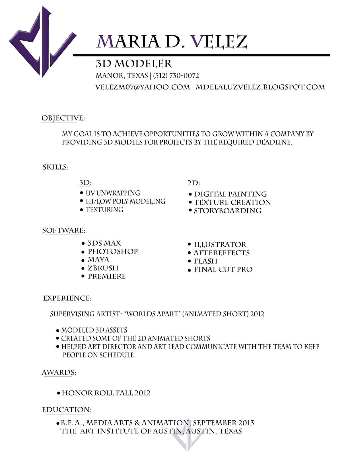 3d Modeler Resume