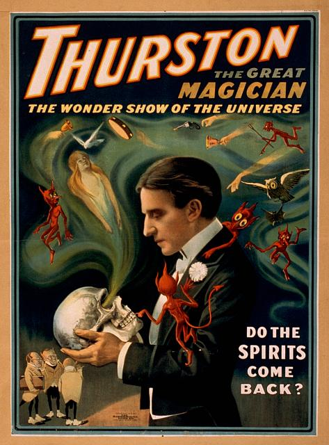 circus, classic posters, free download, graphic design, magic, movies, retro prints, theater, vintage, vintage posters, Thurston, the Great Magician, The Wonder Show of the Universe - Vintage Magic Poster