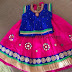 Pink and Blue Glass Work Lehenga
