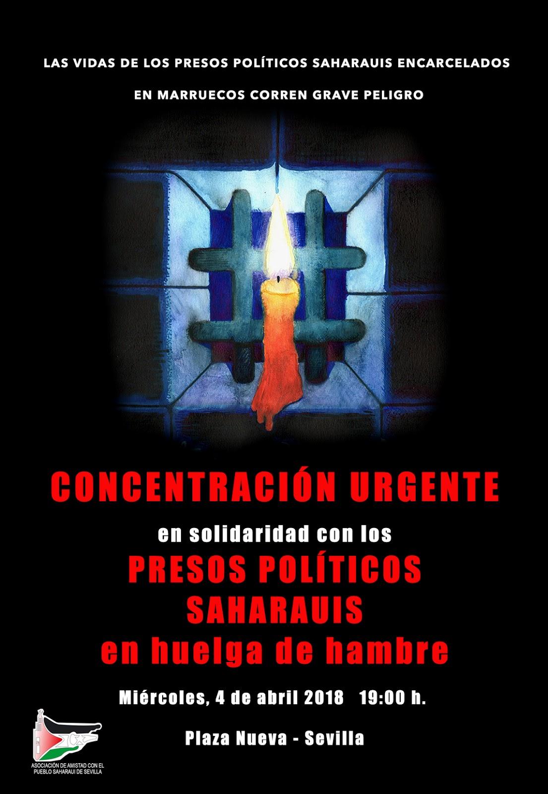 CONCENTRACIÓN URGENTE en solidaridad con los PRESOS POLÍTICOS SAHARAUIS en huelga de hambre