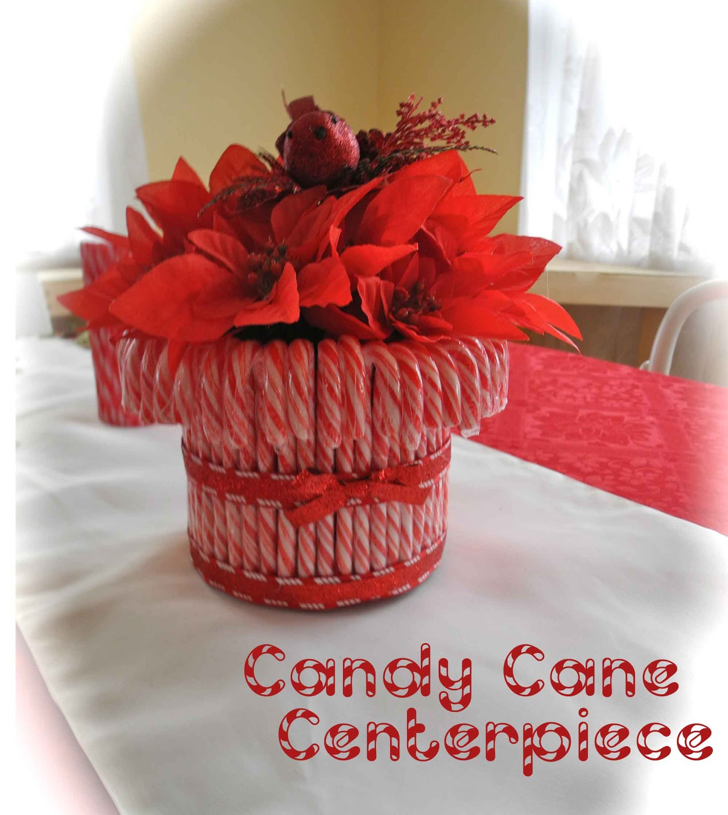 Candy cane centerpiece making memories for Candy cane holder candle centerpiece