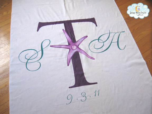 Starfish Aisle Runner We worked with the bride to get the perfect design