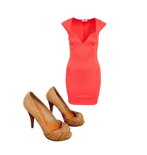 Vestido coral corto zapatos