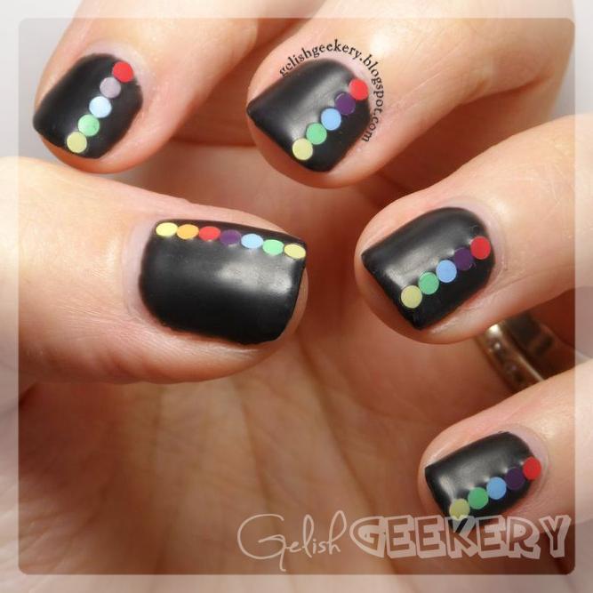 Gelish Matte Top It Off Black Shadow Manicure