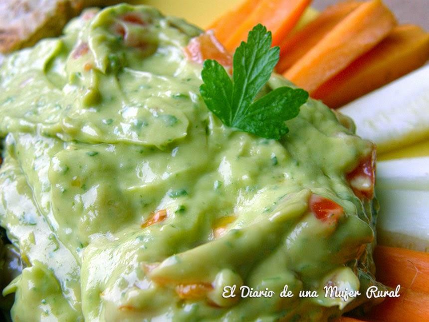 Salsa guacamole de aguacate y mango