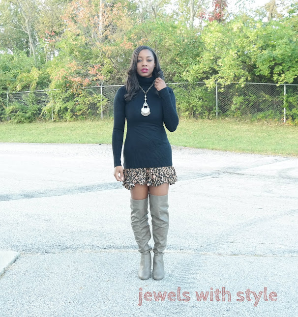 fall outfit ideas, fall outfit ideas 2015, fall fashion, fall fashion 2015, jewels with style, how to wear over the knee boots, how to wear a turtleneck, how to wear animal print, otk boots outfit ideas, turtleneck outfit ideas, animal print outfit ideas, black fashion blogger, black style blogger