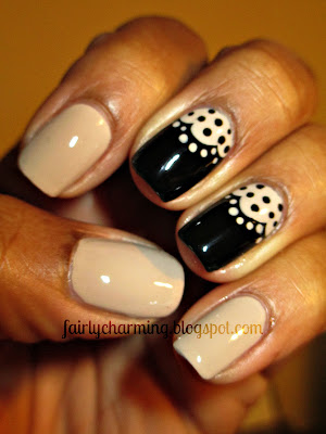 Love & Beauty Beige, beige, black, lace, subdued, work appropriate, nails, nail art, nail design, mani