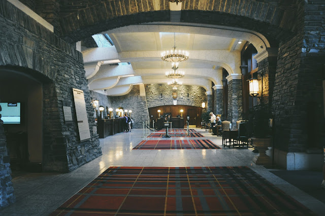 The lobby of The Fairmont Banff Springs