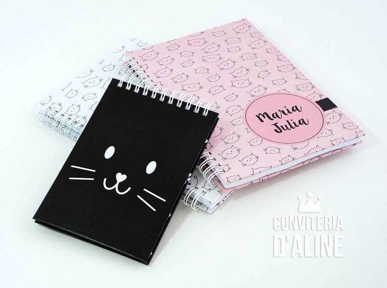 Amado Blog Conviteria D'Aline: {Coleção Gatinho} Kit de Cadernos  UF73