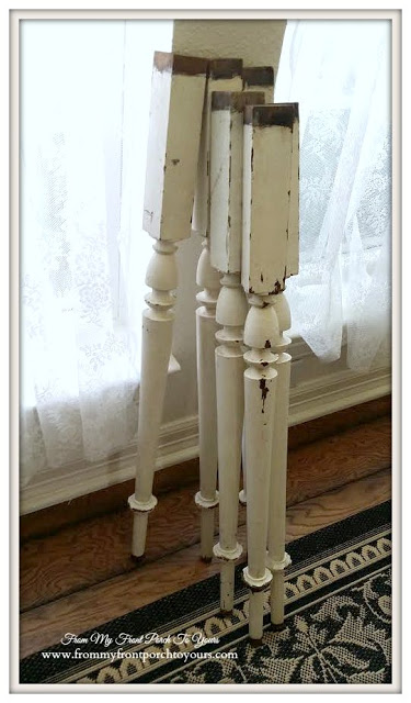 Chippy farmhouse table legs- From My Front Porch To Yours