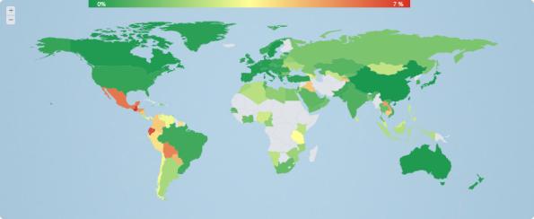 ESETセキュリティブログ:Dorkbotの分布地図