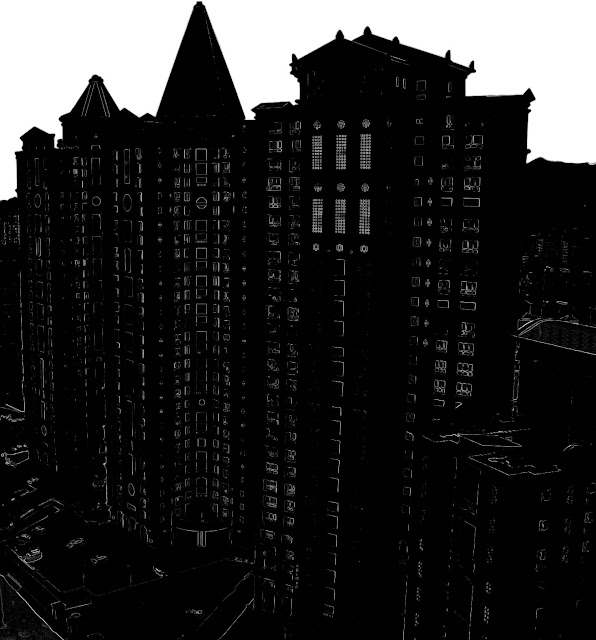 silhouette of high-rise buildings