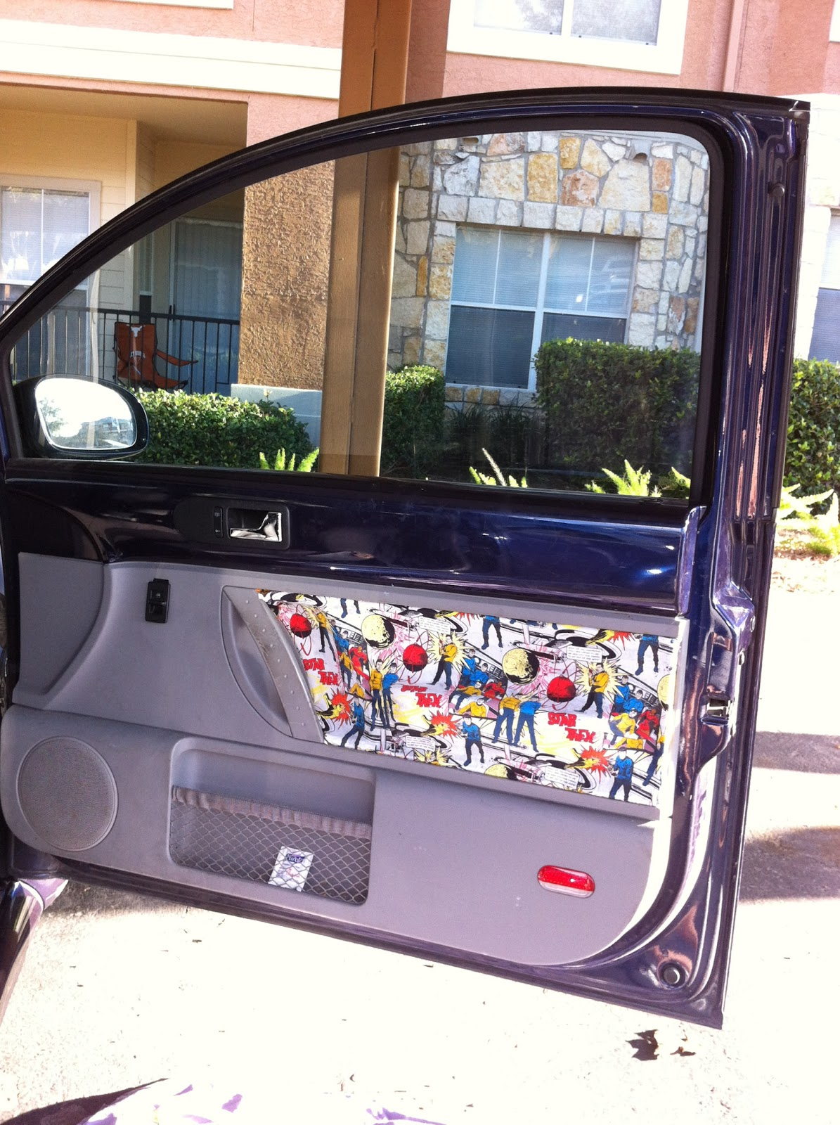 between the rabbit 39 s ears diy interior car door makeover with mod podge. Black Bedroom Furniture Sets. Home Design Ideas