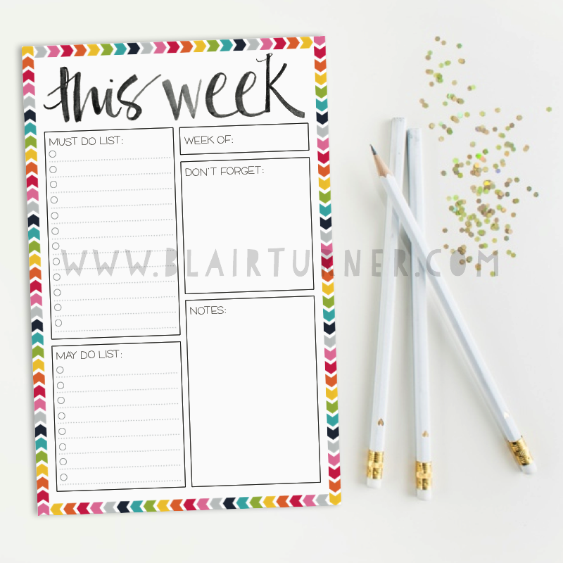Weekly Planner Notepad: Rainbow Chevron