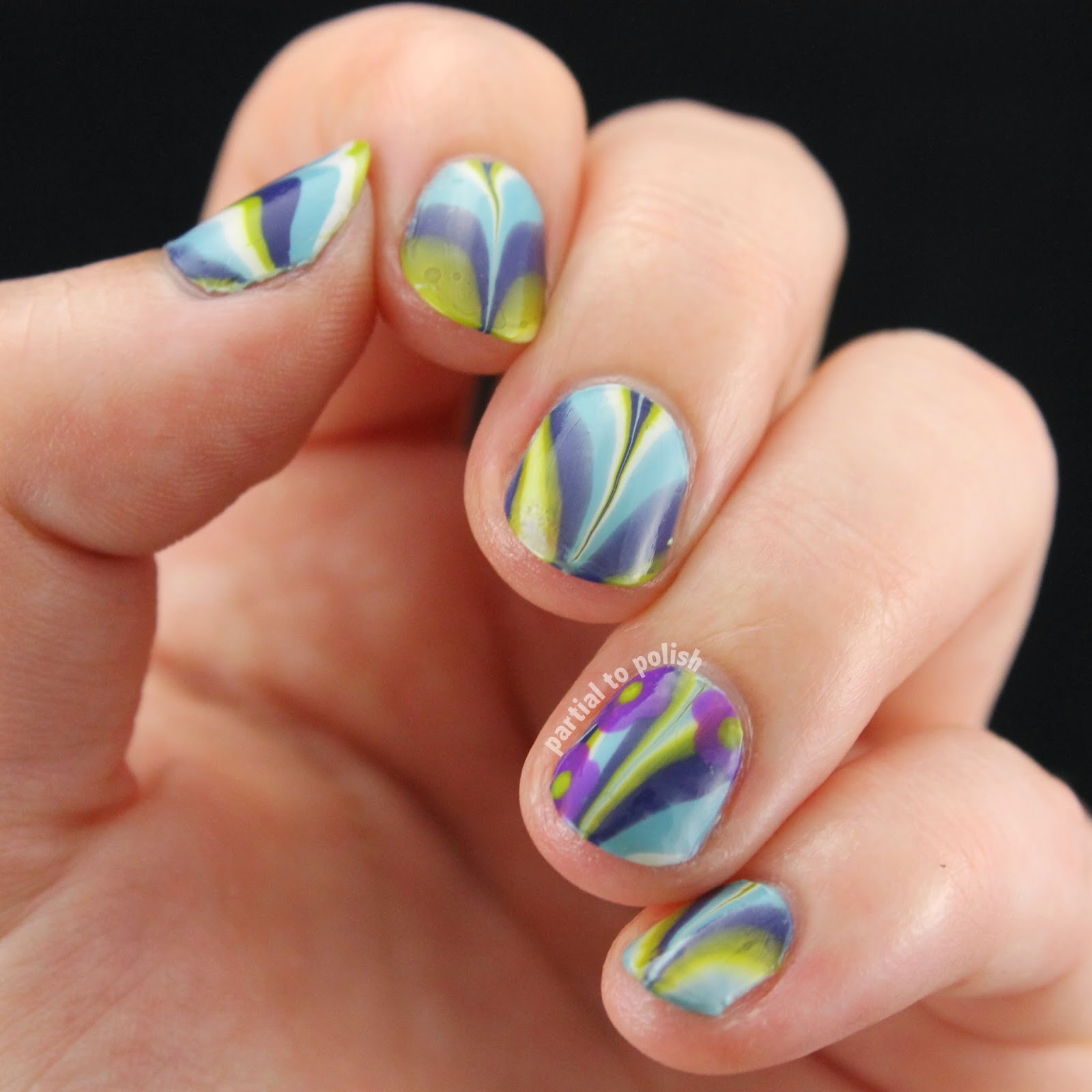 Springy Water Marble with Purple Flowers for Nail Crazy in April