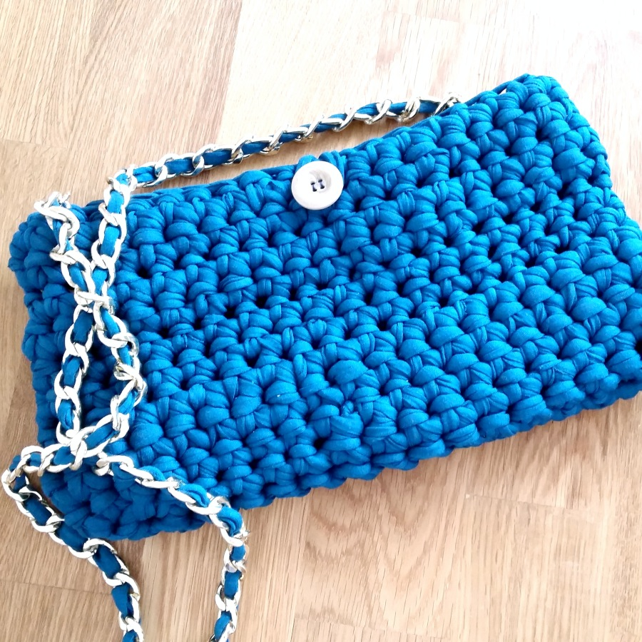 bolso de trapillo con cadena ahuyama crochet